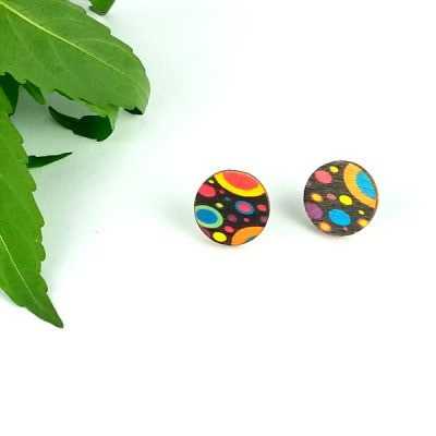 retro planet stud earrings