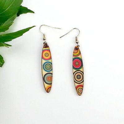 retro slim oval earrings